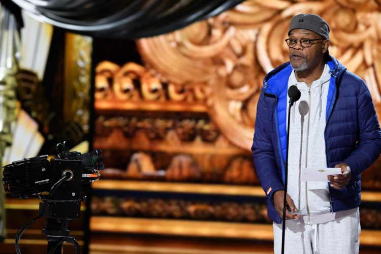 Samuel Jackson rehearses as preparations continue Saturday February 25, 2017 for the 89th Oscars® for outstanding film achievements of 2016 which will be presented on Sunday, February 26, 2017, at the Dolby® Theatre and televised live by the ABC Television Network.