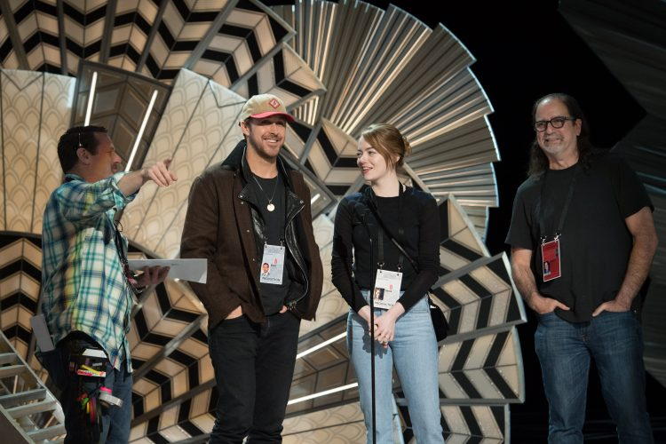 Stage manager Gary Natoli, Ryan Gosling, Emma Stone and director Glenn Weiss rehearse as preparations continue Saturday February 25, 2017 for the 89th Oscars® for outstanding film achievements of 2016 which will be presented on Sunday, February 26, 2017, at the Dolby® Theatre and televised live by the ABC Television Network.