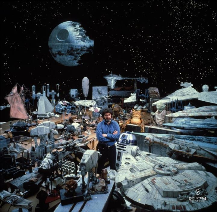 George Lucas, Creator of Star Wars is seen here amongst the scale models used in the original film