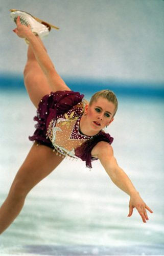 25 FEB 1994:  TONYA HARDING OF THE UNITED STATES IN ACTION IN THE FREE PROGRAM AT THE 1994 LILLEHAMMER WINTER OLYMPICS.   Mandatory Credit: Chris Cole/ALLSPORT